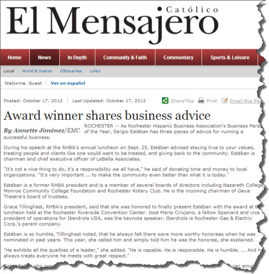 Article from El Mensajero: Award winner shares business advice